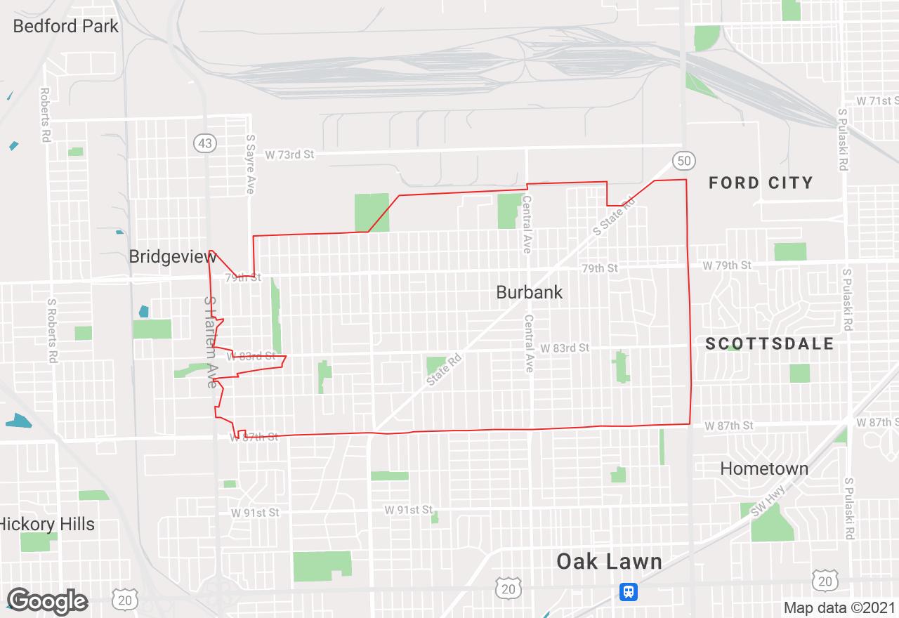 Burbank map