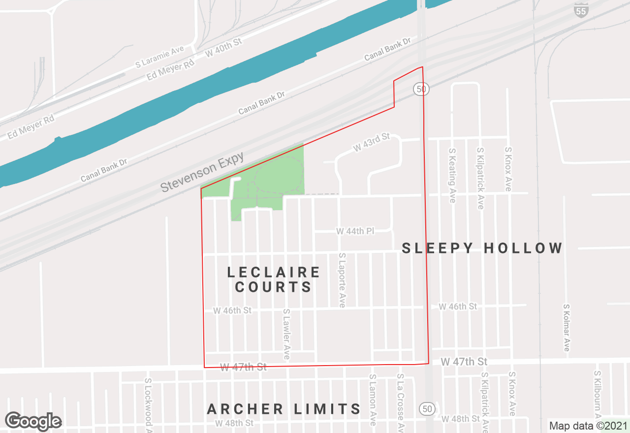 LeClaire Courts map
