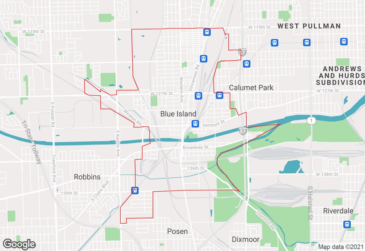 Blue Island map
