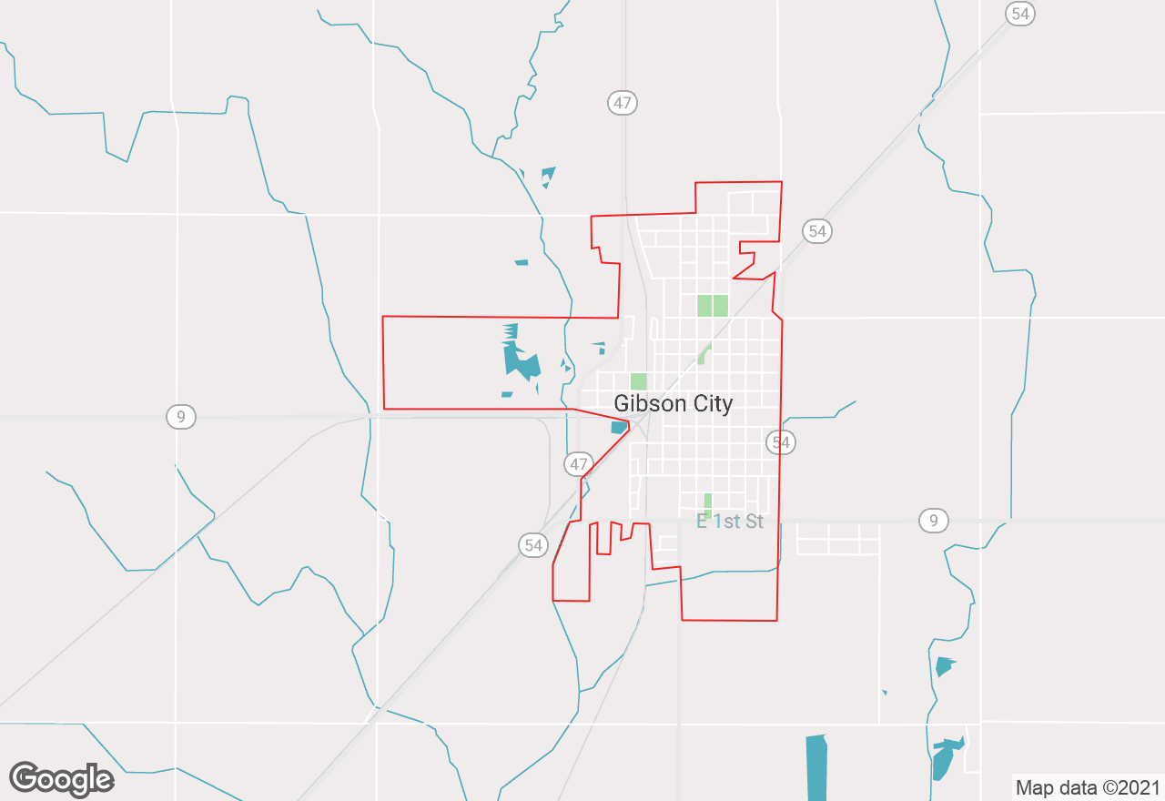 Gibson City map