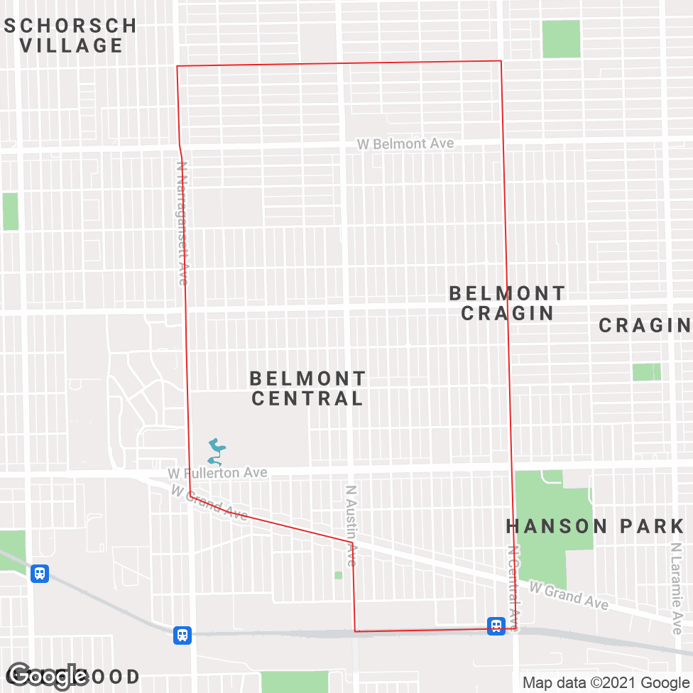 Belmont Central map
